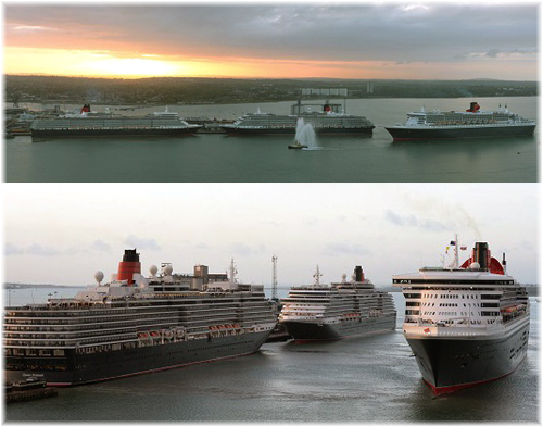 Queen Mary 2 is greeted by Queen Elizabeth (left) and Queen Victoria (right) as the Cunard flagship arrives into Southampton, England, on Friday 9 May 2014. Below, from the left: Queen Elizabeth, Queen Victoria and Queen Mary 2. (Courtesy Cunard Line)
