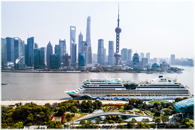 The Shanghai's famous skyline with the AIDAbella in the foreground (Courtesy AIDA Cruises)