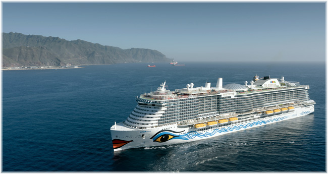 AIDANova at Tenerife (Courtesy AIDA Cruises) (The industry's first liquified natural gas (LNG)-powered ship)