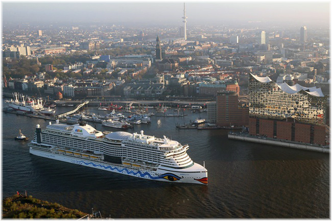 The AIDAPrima at Hamburg  (Courtesy AIDA Cruises)