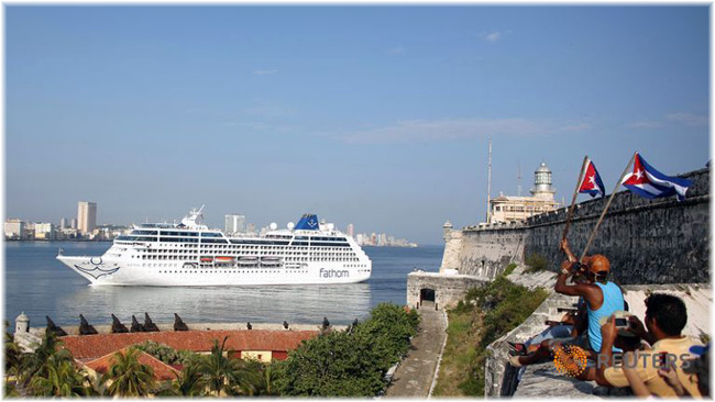 May 2, 2016: Fathom's Adonia slipped through the channel into Havana Bay, Cuba (Photo credit Reuters/Alexandre Meneghini)