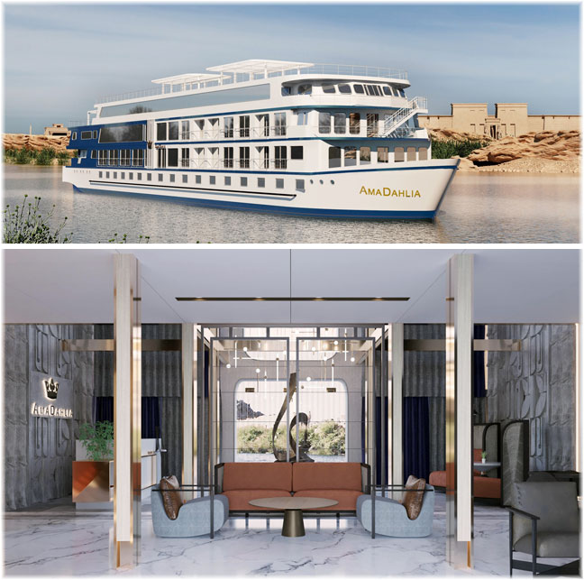 The AmaDahlia (Artist rendering, courtesy AmaWaterways)