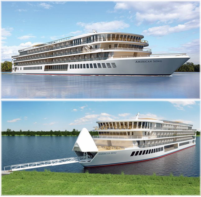 American Song: American Cruise Lines' first of a new class of 5 modern riverboats (Artist impression)