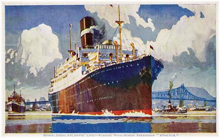 Donaldson Line's 13,465-ton passenger liner Athenia leaving Montreal