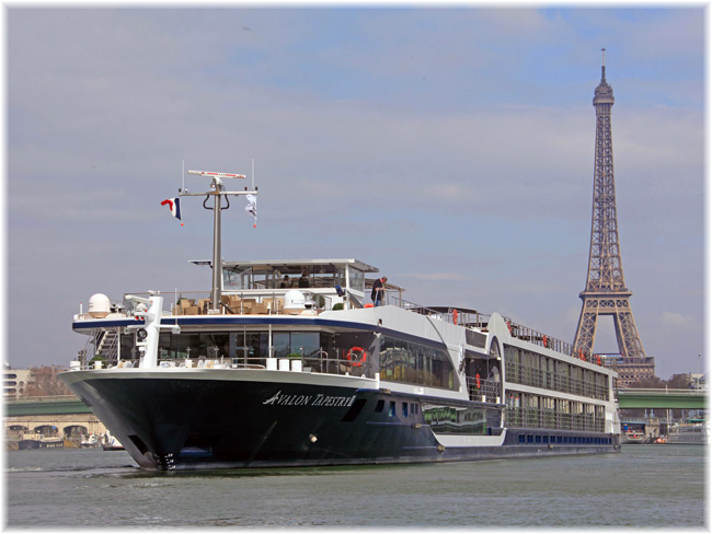 The 128-passenger Avalon Tapestry II in Paris (Photo: Avalon Waterways)