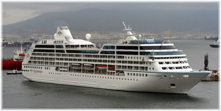 The Azamara Journey with the old white hull (Photo courtesy FrangiB46 at Photobucket.com)