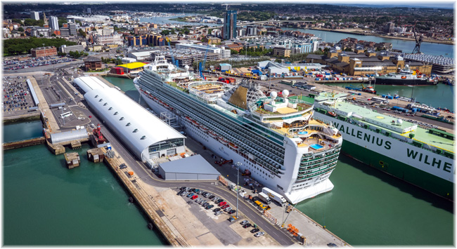 Azura at Ocean Cruise Terminal Southampton (Courtesy ABP) (Click to enlarge)