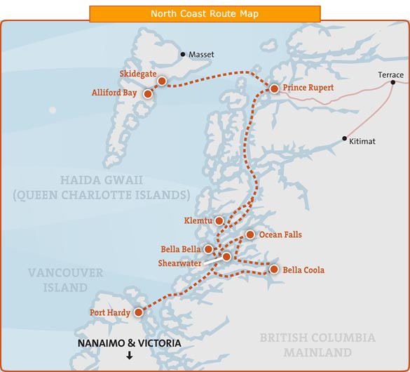 BC Ferries Northern Tourist Routes (Click to enlarge)