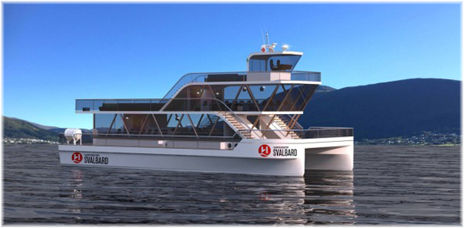 Rendering showing Hurtigruten and Brim Explorer's groundbreaking electric explorer catamaran MS Bard