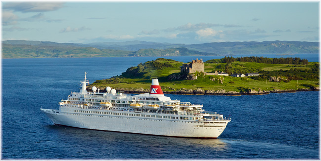 Fred. Olsen Cruise Lines' Boudicca. In this image sailing around the Isle of Mull, Scotland (Courtesy Fred. Olsen Cruise Lines)