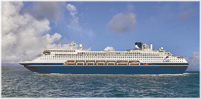 Pacific Dawn  sporting her new livery and house colours for 2021 (Cruise and Maritime Voyages, 28th November 2019)
