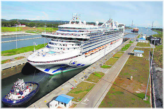 Caribbean Princess, the first Neo Panamax cruise ship to use the expanded Panama Canal in Agua Clara, near Colon