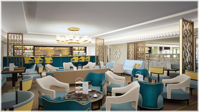 QM2: the Carinthia Lounge (Courtesy Cunard Line)