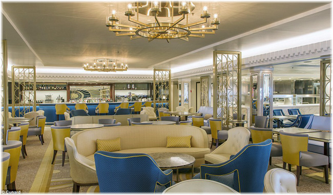 The Carinthia Lounge turns out to be more in blues than the turquoise that had previously been indicated (Courtesy Cunard Line)