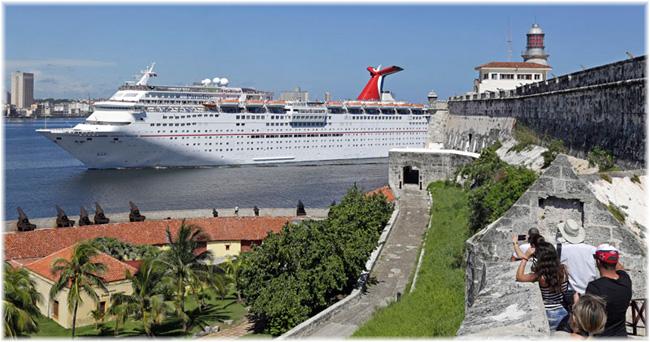 Carnival-Paradise arriving in Havana, Cuba