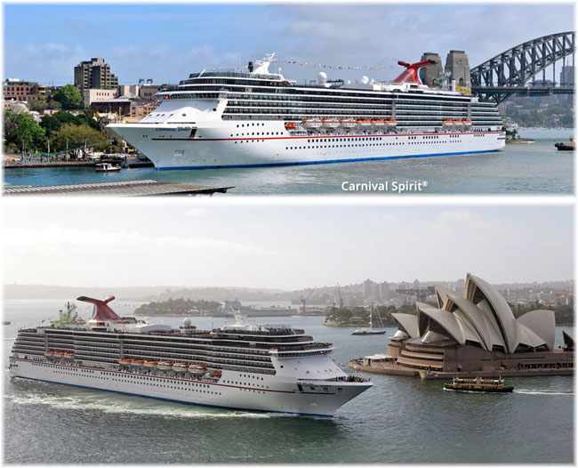 Carnival Spirit at Sydney (Courtesy Carnival Cruise Line)