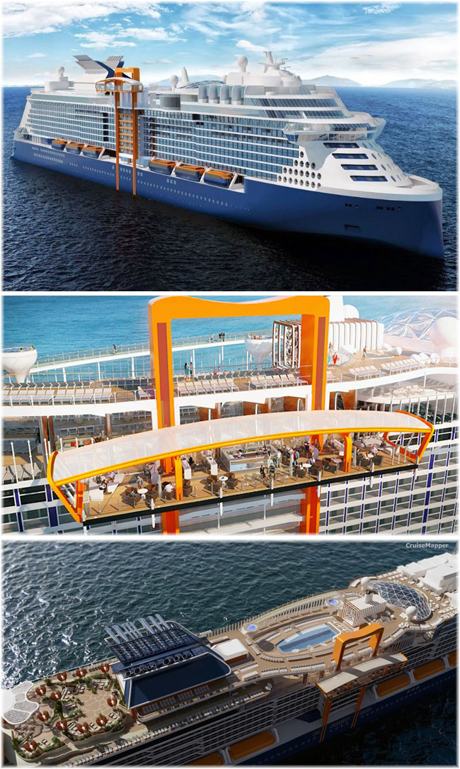 The 117,000-ton 2,900-berth Celebrity Cruises' Edge class ship (Artist impression) (Click to enlarge)