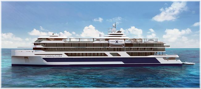 Celebrity Flora (Rendering, courtesy Celebrity Cruises) (Click to enlarge)