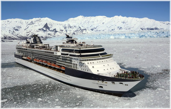 The Celebrity Millennium, in this image in Alaska