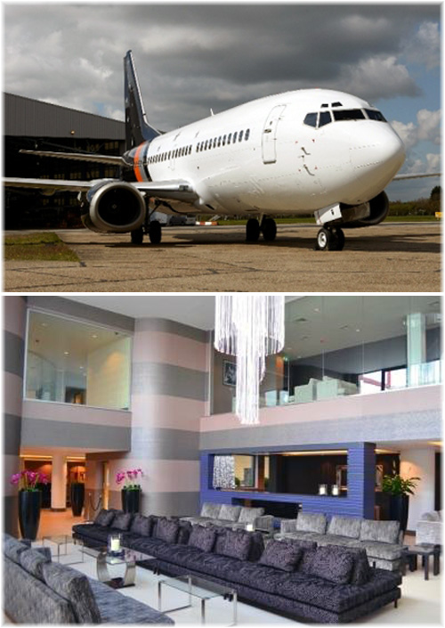 The 130-seat Boeing 737 and the Celebrity private departure lounge