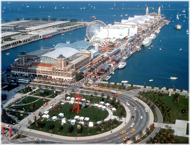 The Chicago Navy Pier can today be likened to an overgrown version of Copenhagen's Tivoli Gardens (Click to enlarge)