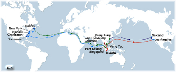 CMA CGM's Columbus Jax route between Los Angeles and the North American east coast, both ways via Suez