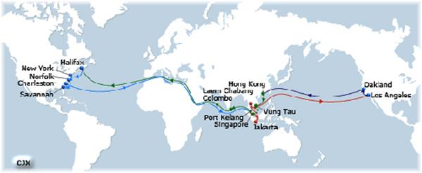 CMA CGM's Columbus Jax route between Los Angeles and the North American east coast, both ways via Suez