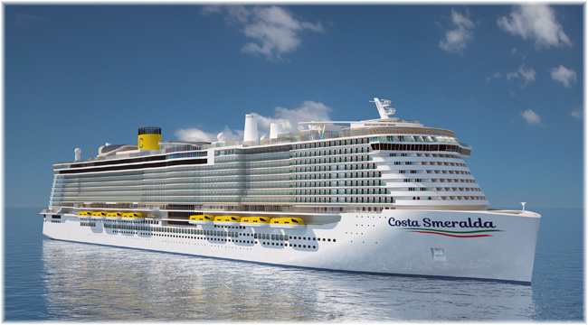 Artist impression of the new dual-fuel LNG ship Costa Smeralda (Courtesy of Costa Cruises) (Click to enlarge)