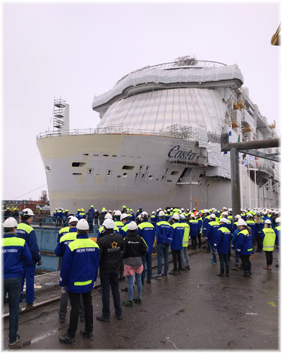 Costa Smeralda floated out with traditional ceremonies at Meyer Turku shipyard (March 2019)