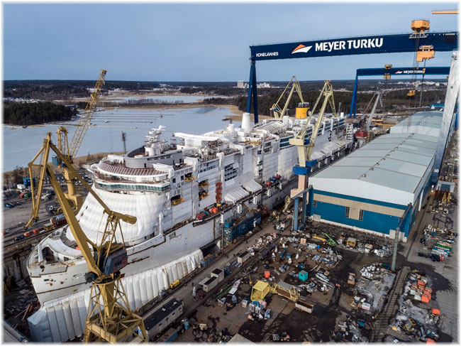 Construction of the Costa Smeralda, the new flagship of the Costa Cruises fleet, is continuing at the Meyer shipyard in Turku (Feb.2019)
