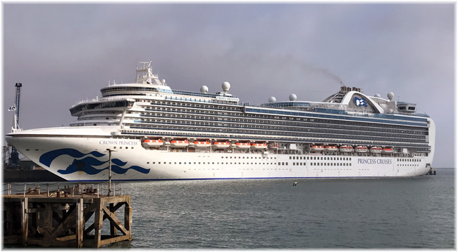 Crown Princess at Portland Port  (Courtesy Portland Harbour Authority, UK)