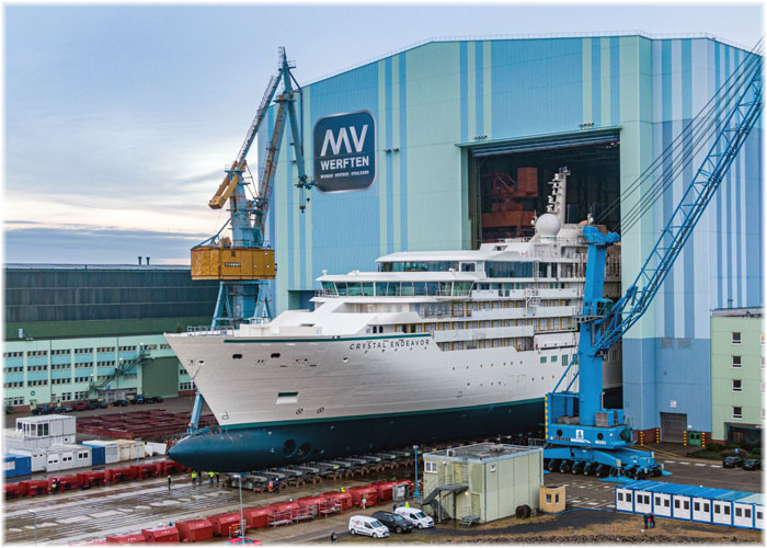 Crystal Endeavor  undocked in Stralsund  (Courtesy MV Werften, Dec.2019)