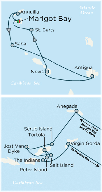 Crystal Esprit's Caribbean itineraries: West Indies above and BVI below