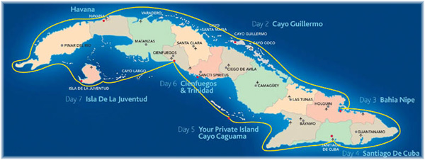 The map of Cuba with typical 21st Century cruise itineraries