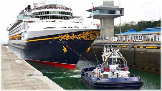 Disney Cruise Line's Disney Wonder became the first cruise ship to transit the Expanded Canal, in April 2017