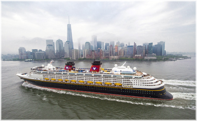 Disney Magic arriving at New York Disney Magic arriving at New York with Manhattan in the background (Courtesy Disney Cruise Line)