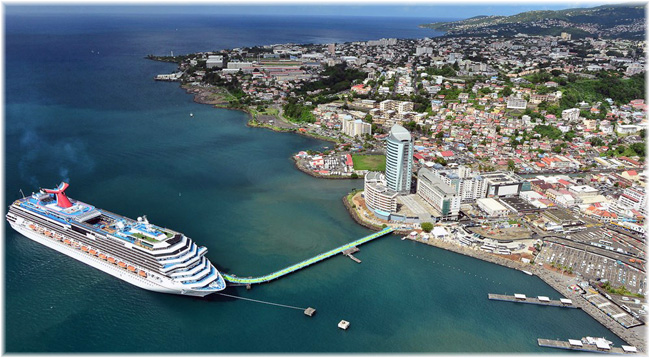 Fort-de-France is the largest port and the capital city of Martinique