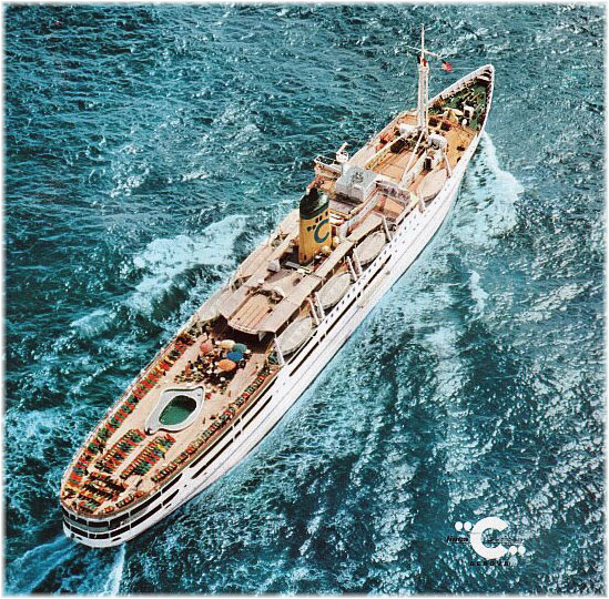 Franca C was converted into a diesel powered cruise ship in 1959