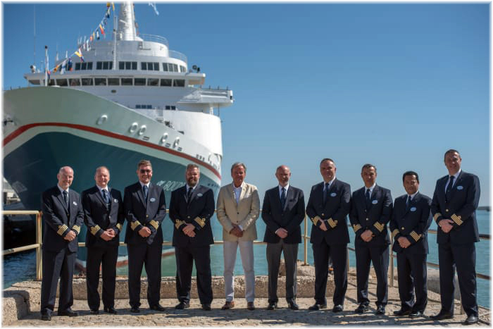 Left - right: Captain Jens Erik Gulowsen – Master of Braemar, Captain Juha Sartela – Master of Boudicca, Captain Mikael Degerlund – Master of Boudicca, Captain Henrik Mattsson – Master of Black Watch, Fred. Olsen Junior – Chairman of Fred. Olsen Cruise Lines, Mike Rodwell – Managing Director of Fred. Olsen Cruise Lines, Captain Valentin Giuglea – Master of Black Watch, Captain Victor Stoica – Master of Balmoral, Captain Rommel Pineda – Master of Balmoral, and Captain Jozo Glavic – Master of Braemar (Courtesy Fred. Olsen Cruise Lines)