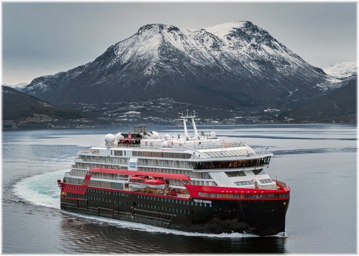 Hybrid powered MS Fridtjof Nansen during sea trials in the Norwegian fjords (Photo: MOTION AIR/Hurtigruten)