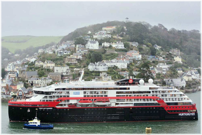 Hurtigruten's Fridtjof Nansen at  Dartmouth, Devon, March 2020 (Photo credit: theviewfromthedartmouthoffice.com)