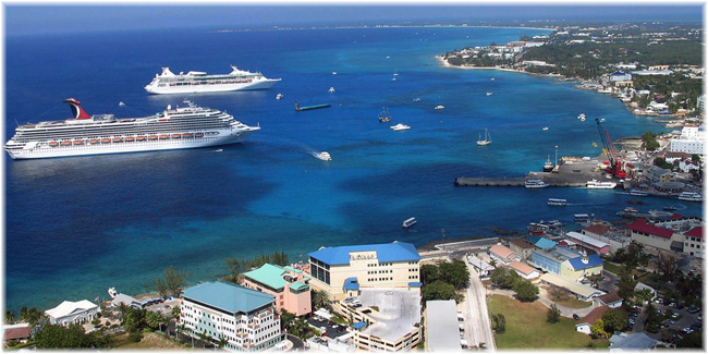 Cruise ships moored off George Town, Grand Cayman (Courtesy Cruisemapper.com)