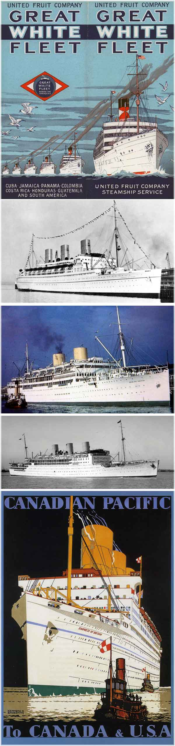 From the top: 1) Great White Fleet 1926 (Prior to 1930 only banana boats had worn white in large numbers - courtesy Bjoern Larsson) 2) Empress of Japan ( White hull 1930, used Leigh's Marine White at Pier BC Vancouver, now Canada Place 3) Reina del Pacifico (White hull 1931: a first-time customer of Leigh's Marine White. Seen here at Liverpool 4) Strathnaver (White hull 1931: the first P&O ship to appear in white 5)Empress of Britain (White hull 1931. The largest white-hulled ship until P&O's Canberra in 1961