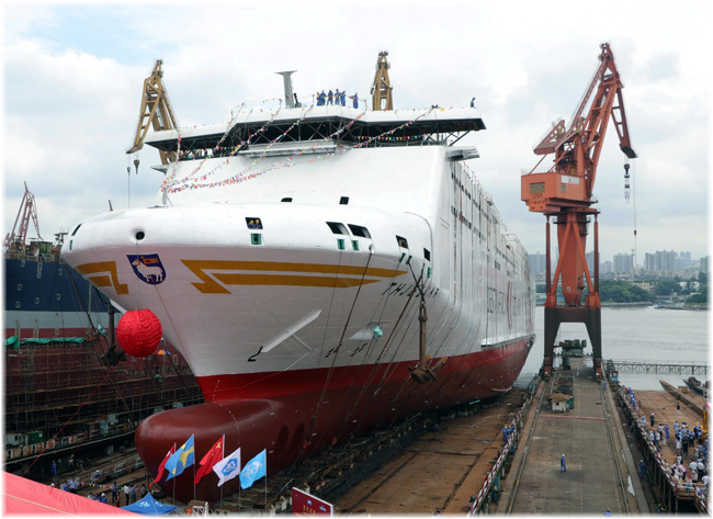The ferry Thjelvar launched last July at the Guangzhou Shipyard (Click to enlarge)