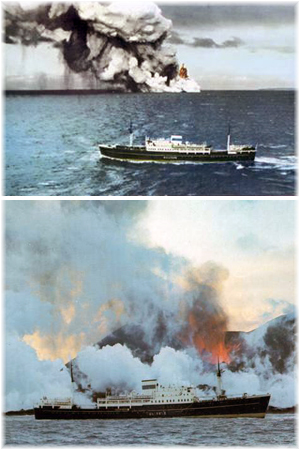 Iceland Steamship Conpany's Gullfoss. Above off Surtsey in 1963 and below off Heimaey in 1973