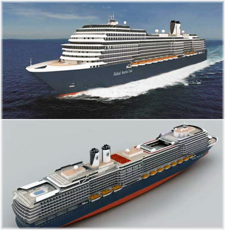 The new  Pinnacle  class ship   will be the first new Holland America ship in more than five years and the largest ship yet built for the line