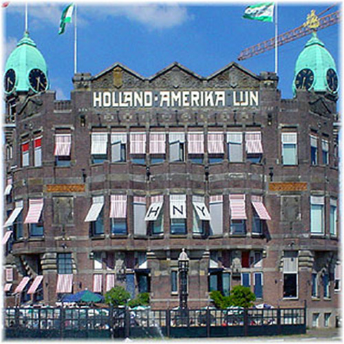 The historic Holland America Line headquarters at the Wilhelminakade in Rotterdam, which now operates as the Hotel New York