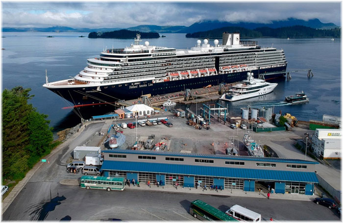 An Holland America ship at Halibut Point Marine - Sitka, Alaska  (Courtesy Halibut Point Marine Services LLC - CLIA)