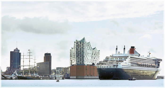 Hamburg panorama with Elbphilharmonie and Queen Mary 2. Just as Paris has its Eiffel Tower and London its Big Ben, so Hamburg is now building its new Elbphilharmonie to be the port city's main icon (Photo mediaserver.hamburg.de / Jörg Modrow)