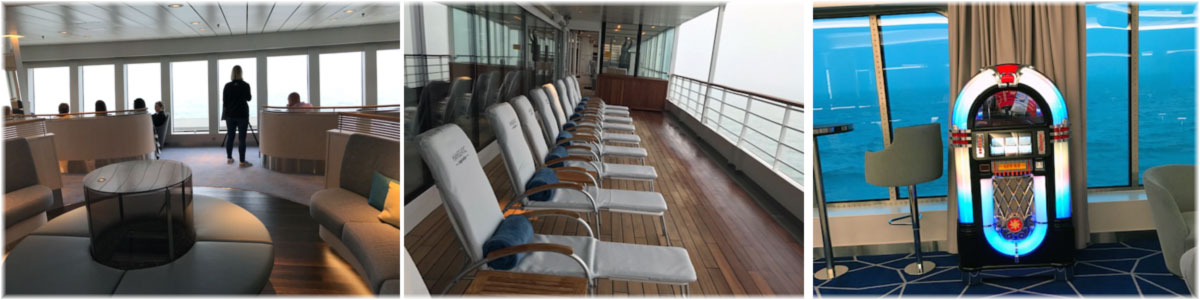 Hanseatic Inspiration: the Observation Lounge forward. A typical cosy ocean liner like area on board. It also rocks in the ship's main lounge (Photo credit Kevin Griffin)